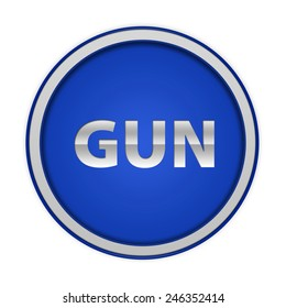 Gun circular icon on white background