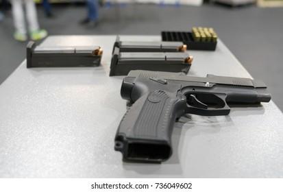 gun, clips, bullets. firearm