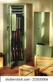 gun closet with rifles