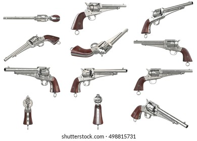 Gun cowboy revolver with wood handle set. 3D graphic