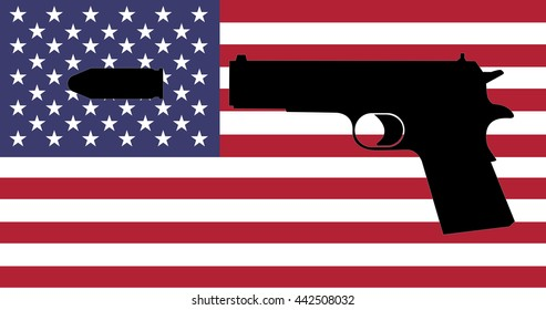 Gun Crime in the USA - A Gun with the American Flag in the Background