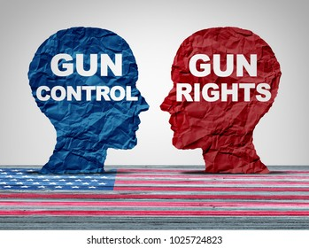 Gun debate as the right to control firearms laws versus the constitutional rights of owners of guns as a political American argument concept in a 3D illustration style.