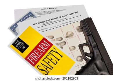 Gun with Firearm Application and CCW Permit Fingerprint ID