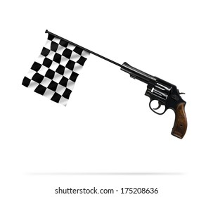 A gun and a flag to start and finish on a white background