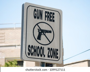 Gun free school zone sign in Atlantic city, NJ, USA