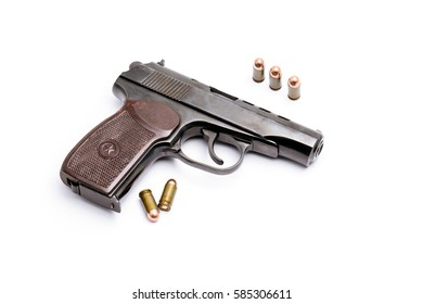 Gun and group of Bullets or Ammunition on White background