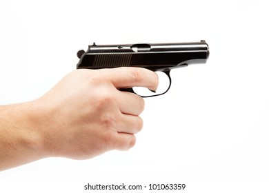 Gun in hand on a white background.