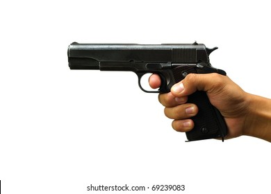 Gun in the hand on white background isolated