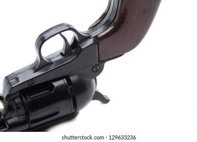 a gun with handmade wooden handle