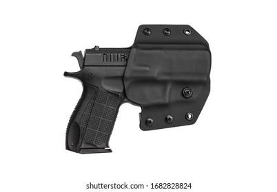 Gun in holster. Modern plastic holster for gun isolate on white background.