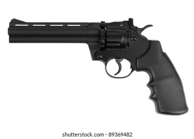 Gun - an imitation of long-barreled revolver on a white background