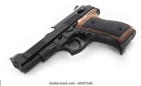 Gun isolated on a white background (with shadow).