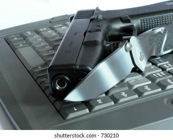 Gun, knife, keyboard