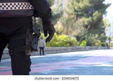 gun in a loincloth holster.