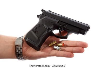 Gun in man hand
