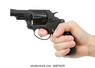 gun in man's hand, isolated