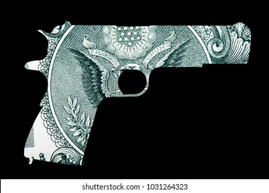 Gun and Money. Representing Shootings in America. Shape of Gun over detail of United States of America Dollar Bill, gun control concept.