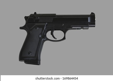 gun on gray background, isolated