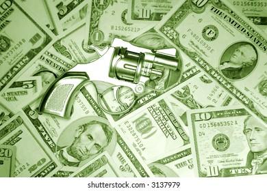 Gun on U.S. banknotes