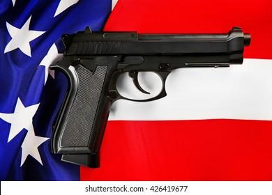 Gun on USA flag background