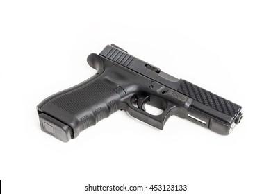Gun on white background, semi automatic pistol