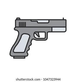 Gun, pistol color icon. Firearm. Isolated raster illustration