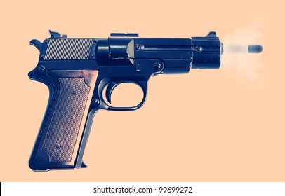 gun or pistol evidence of a crime or security and protection. gunshot with bullet and smoke