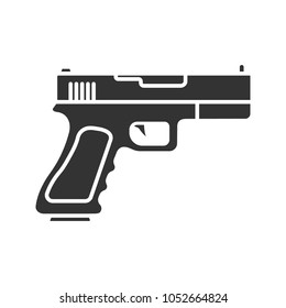 Gun, pistol glyph icon. Firearm. Silhouette symbol. Negative space. Raster isolated illustration