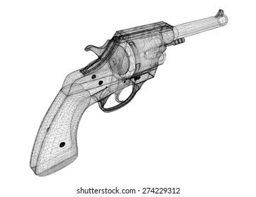 gun, pistol on background,  body structure, wire model