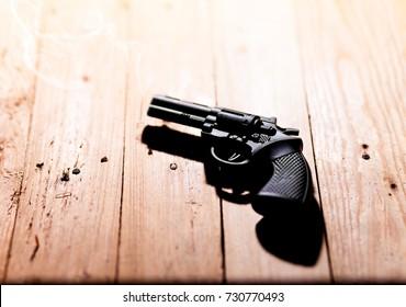 Gun put on the table