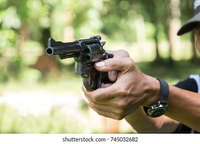gun shooting pistol revolver range training