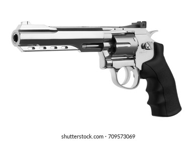 Gun  silver pistol isolated on white background