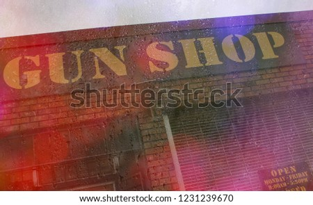 Gun Store Sign On Rainy Day Stock Photo Edit Now 1231239670