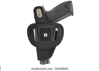 The gun in the tactical holster. Isolated