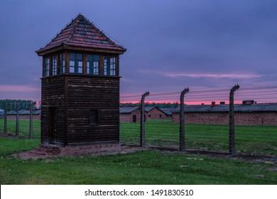 Gun tower at concentration camp in Auschwitz II - Birkenau, Poland