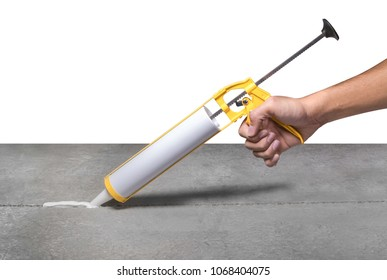 The gun used to shoot the Sealant. Close the leaks between the concrete wall surface.
