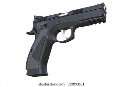 Gun weapon black security equipment. 3D rendering