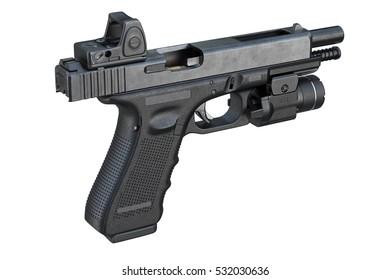 Gun weapon equipment ammunition with scope. 3D rendering