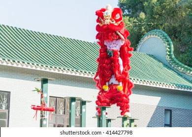 GUNAGDONG, CHINA - Nov 27 2015: Lion Dance at Wong Fei Hung Lion Dance Martial Arts Museum. a famous historic site in Foshan, Guangdong, China.