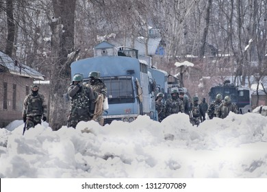 A Gun-battle raged between Militants and Indian forces in south Kashmir's Kelam area of Kulgam on 10 February 2019 in which Five Local militants were killed. in Pictures, army return after gunfight.