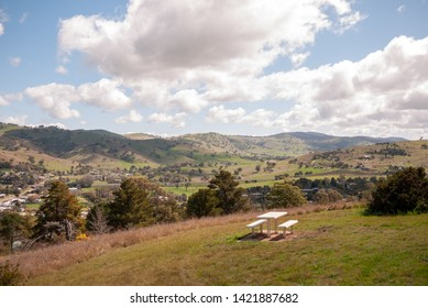 Gundagai / Gundagai South from Gundagai Rotary Lookout, a rural town in NSW (New South Wales), Australia, close to the Victorian (VIC) border. A hilltop view / vantage point.