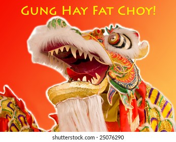 Gung Hay Fat Choy Dragon red-gold gradient background