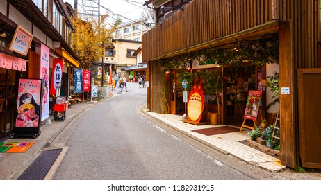 GUNMA, JAPAN - APRIL 27 2018: Kusatsu Onsen located about 200 kilometers north-northwest of Tokyo, it is one of Japan's most famous hot spring resorts for centuries