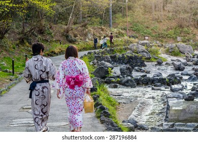 GUNMA,JAPAN - 6 May 2015: A Japanese couple wear Yukata . Visitors dressed in yukata are a common sight at every onsen village.