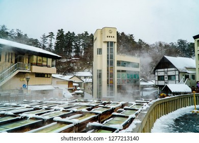 GUNMA,JAPAN - DEC 29,2018 Kusatsu Onsen is a hot spring resort located in Gunma Prefecture Japan,one of the top three hot springs in Japan along with Arima and Gero onsens.