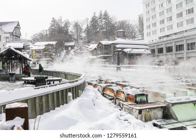 GUNMA,JAPAN - FEB 18,2018 :Kusatsu Onsen is a hot spring resort located  in Gunma Prefecture Japan,one of the top three hot springs in Japan along with Arima and Gero onsens.