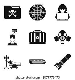 Gunman icons set. Simple set of 9 gunman icons for web isolated on white background