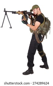 gunner with RPD gun isolated on white