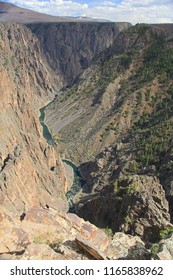 The Gunnison River flowing through Black Canyon of the Gunnison at Pulpit Rock.