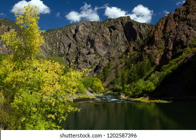The Gunnison River flows through Black Canyon of the Gunnison National Park, which it carved over eons